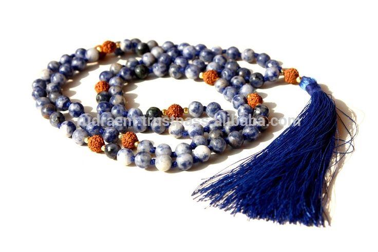 Sodalite & Rudraksha Mala Beads Tassel Necklace, 6 mm 108 Gemstone beads Japa Mala