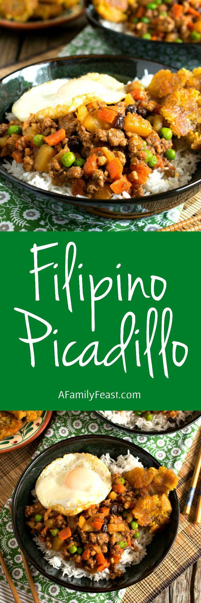 Filipino Picadillo - A delicious, one-skillet dinner made with ground beef, potatoes, raisins and vegetables in flavorful sauce.