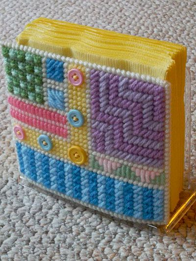 Fun With Buttons Napkin Holder Covers ~ a quick plastic canvas project to cover that old napkin holder of Grandma's!