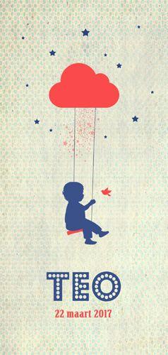 Geboortekaartje Teo - Pimpelpluis - https://www.facebook.com/pages/Pimpelpluis/188675421305550?ref=hl (# jongen - wolk - vogel - sterren - ster - schommel - vrolijk  - retro - vintage - silhouet - lief - origineel)