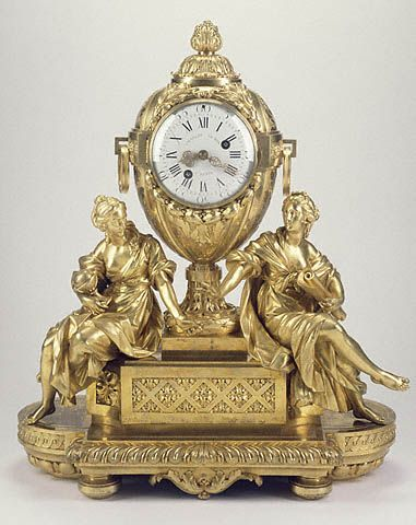 *A mantel clock circa 1772, showing the figures of Astronomy (left) and Geography (right). This clock stood on the mantel of Louis XVI'S Salon de Conseil at the Tuileries Palace at the time of the revolution