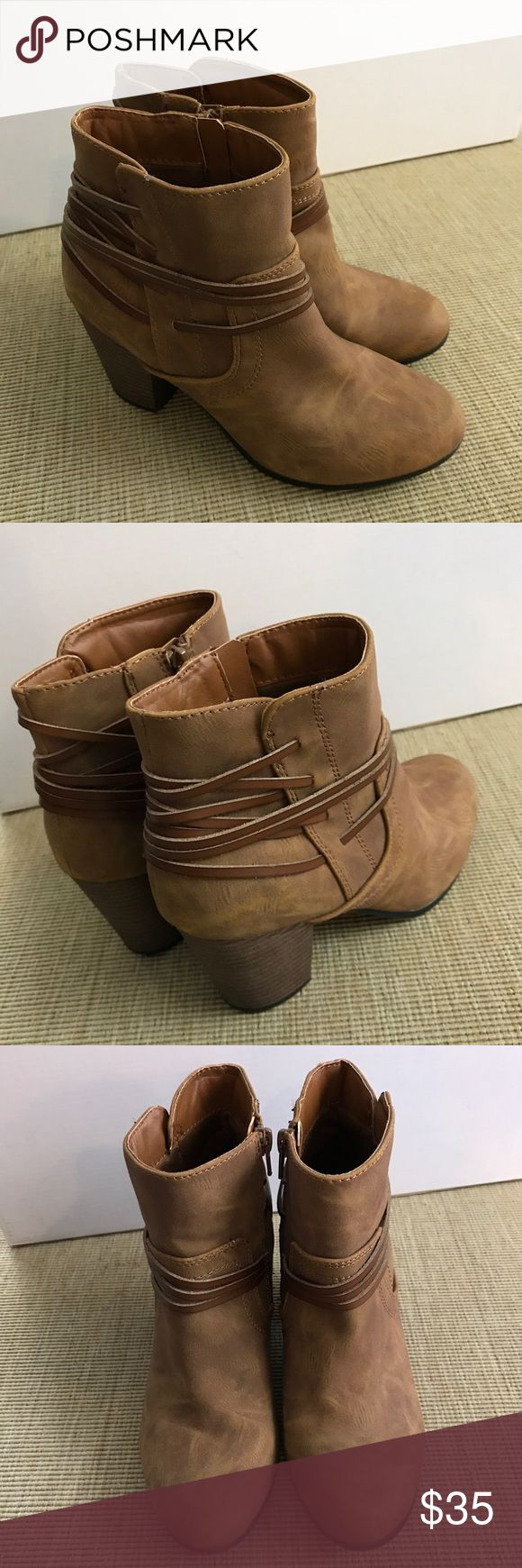 BIG BUDDHA, BOOTS SZ 8 Ankle Brown Ankle Straps BIG BUDDHA, BOOTS SZ 8 Ankle Brown Wrap Strap. Worn once -like new. Big Buddha Shoes Ankle Boots & Booties