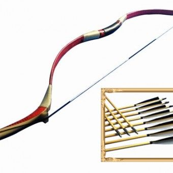 Traditional recurve bow and arrows set