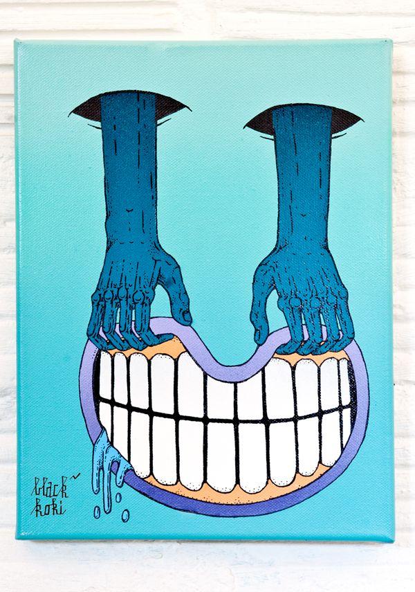 """""""Smile"""" (Spraypaint and ink on canvas) - Black Koki"""