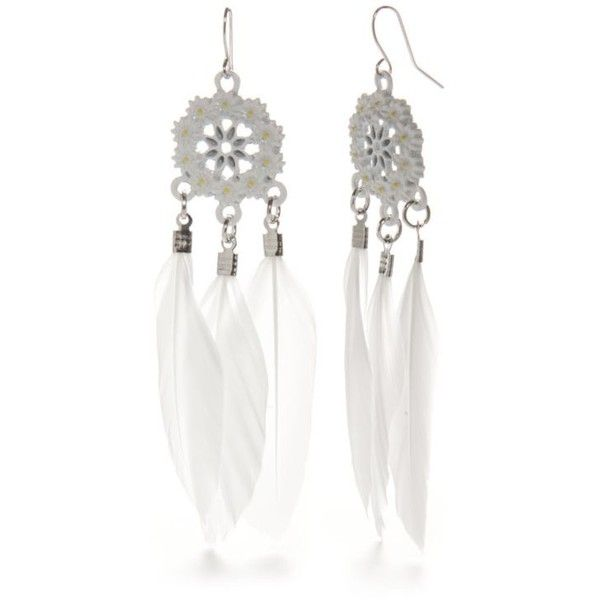 Red Camel White Silver-Tone White Flower Feather Chandelier Earrings ($9.80) ❤ liked on Polyvore featuring jewelry, earrings, white, filigree jewelry, feather earrings, white flower earrings, white earrings and silver tone jewelry