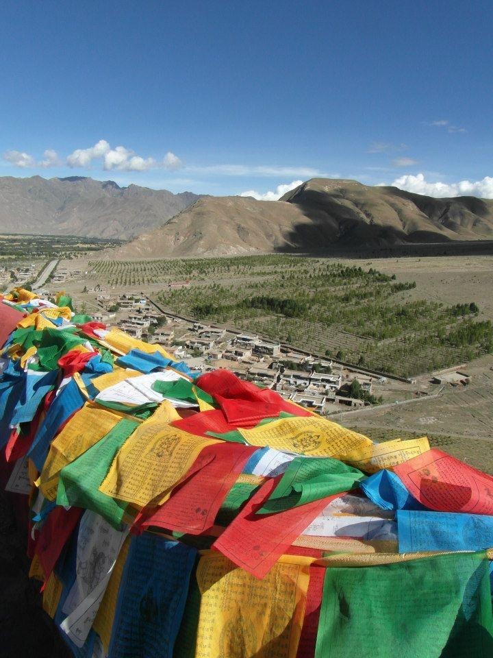 tibetan flags are everywhere....prays in the sky