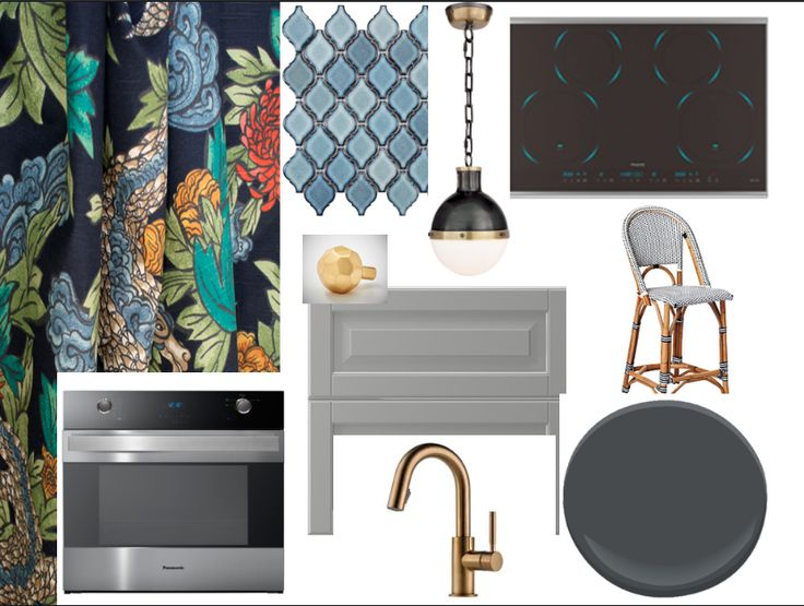 Chad: the sleekness of the appliances & the cool blue glow of the cook top inspired me to paint the lowers in a dark inky blue (BM Racoon Fur) & the uppers a lighter grey. The navy Ming Dragon fabric would be perfect as drapes on the window in the kitchen. The chrysanthemums in the pattern provide the jumping off point for the warm metal accents and the blue glazed tiles. The Hicks pendant and vow over the island to complete my dream kitchen