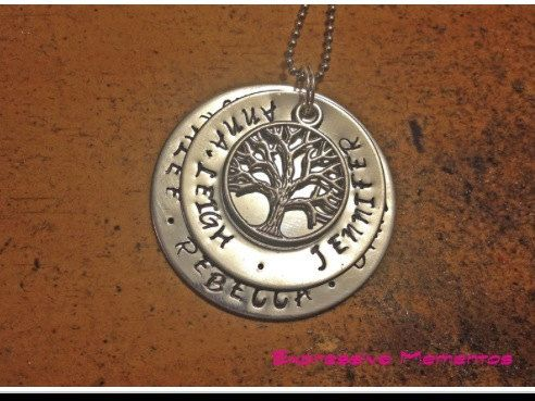 Personalised gift hand stamped Mommy / Mummy family Stack Washer Necklace - with tree of life charm via Etsy