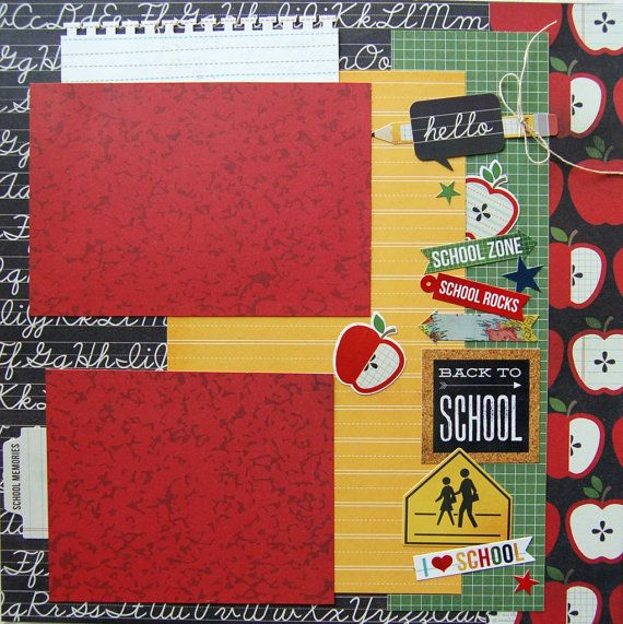 scrapbook page back to school 12x12 premade by by urbansavanna, $8.75