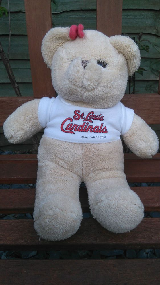 St Louis cardinals baseball - promotional soft teddy bear plush - 12 inches long