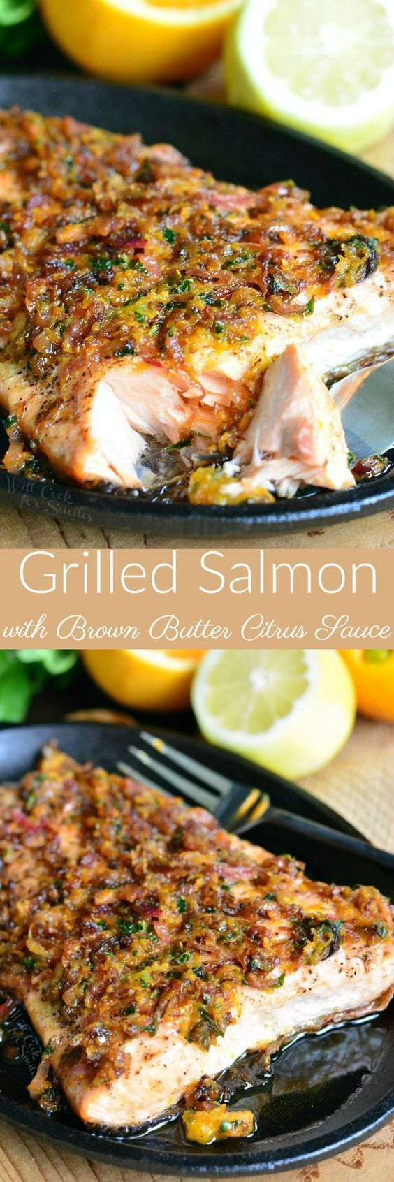 Grilled Salmon with Brown Butter Citrus Sauce ~ super easy and out-of-this-world DELICIOUS grilled salmon topped with a simple, buttery citrus sauce! #seafoodrecipes