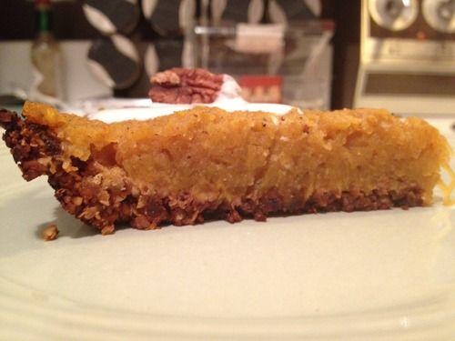 pumpkin pie with pecan and almond crust vegan gluten free guilt free