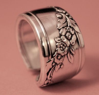 Queen Bess Silver Spoon Ring 1946 Vintage Silver Spoon Pattern Jewelry Available in Ring Sizes 7 only