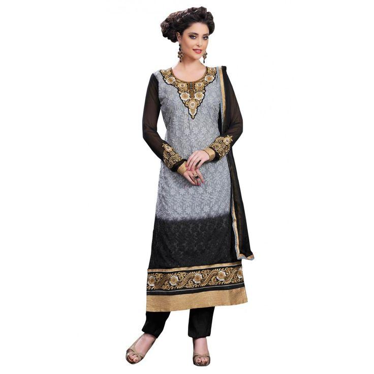 Grey and Black Georgette #Churidar #Kameez With Dupatta - $38.81