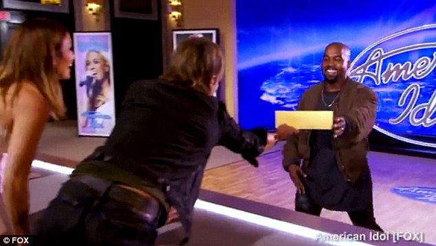 Just the ticket: Kanye West was thrilled after winning a place in the next round after his mock American Idol audition