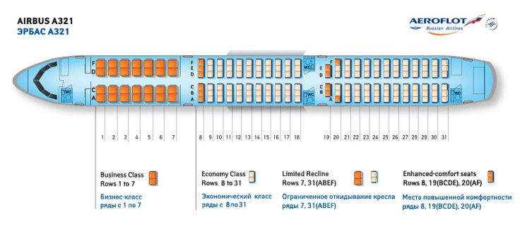 Aeroflot Russian Airlines Airbus A321 Aircraft Seating