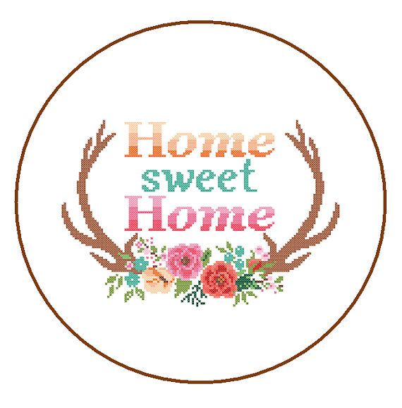 Modern Cross Stitch Pattern Home Sweet Home by ZindagiDesigns