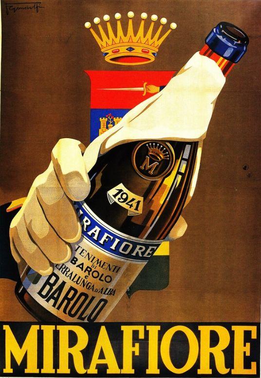 Vintage Italian Posters ~ #Italian #vintage #posters ~ Barolo Mirafiore, 1942, Gandolfi #wine