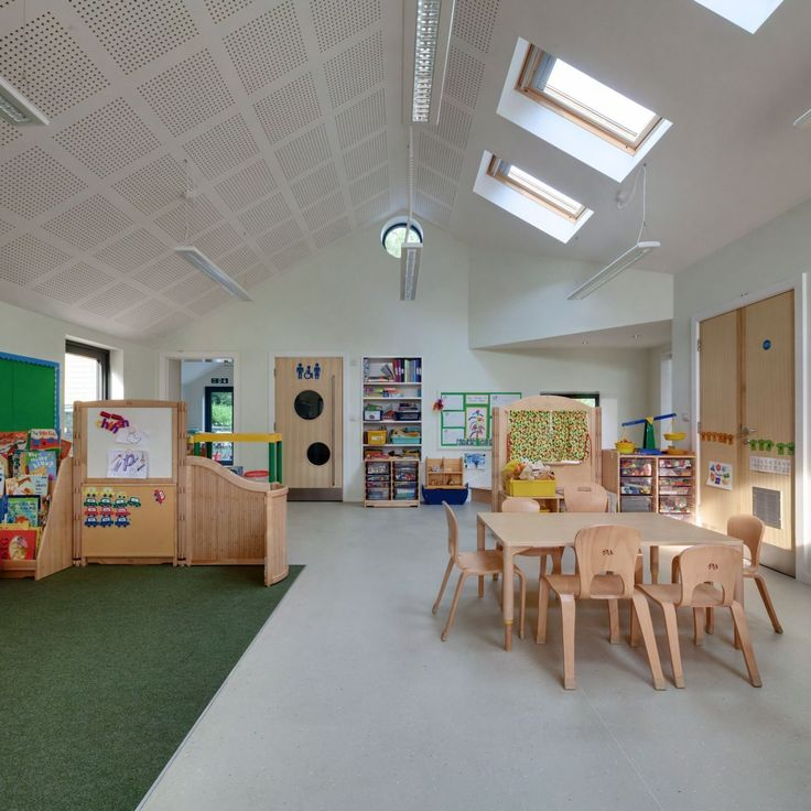 Interior Design, Beautiful Friendly School Interior Design With Wooden  Furniture Like Table And Chairs Plus