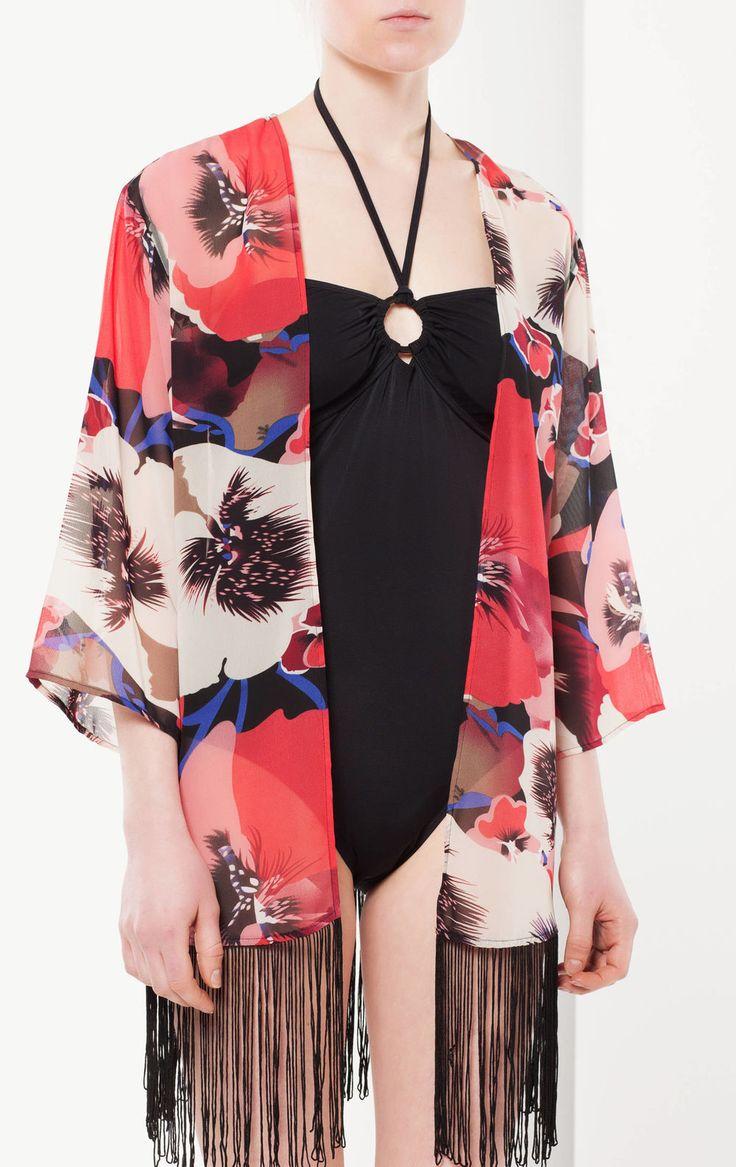 Giacca kimono con frange, Multicolor