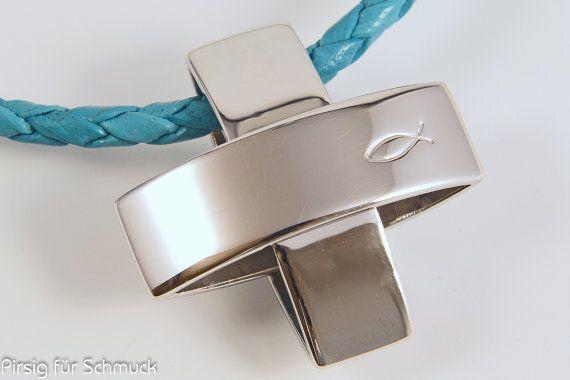 Kreuz Anhänger Silber Ichthys schlicht modern von pirsigfuerschmuck