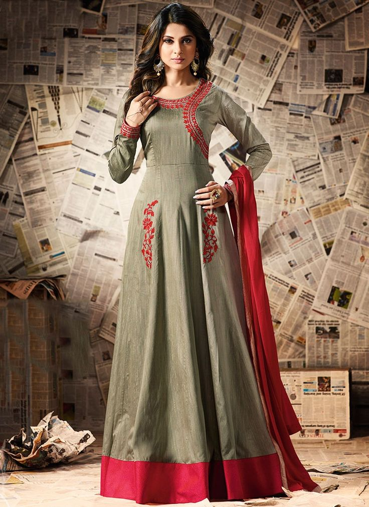 Buy Grandiose Jennifer Winget Resham Work Grey Floor Length Anarkali Suit  #salwarkameez #anarkalisuits #womensuits #anarkalifashion #salwarkameezsale #glamor #glamorous