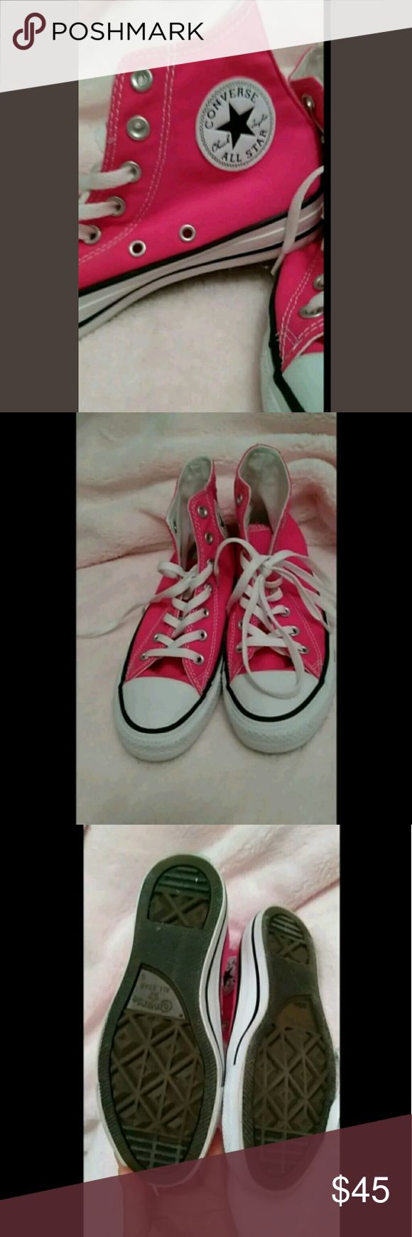 Hot pink high top Converse, womens 7, mens 5 I wore these All Stars twice. Almost new condition. Awesome Chuck Taylors. Size on bottom says 5 but these are definitely 7s (on a lady!) 😆 Converse Shoes