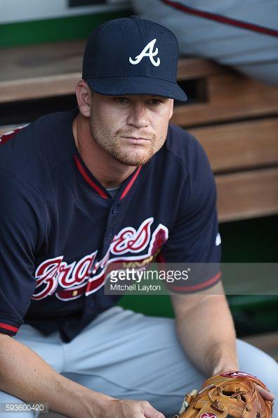 Gordon Beckham of the Atlanta Braves looks on before a baseball game...
