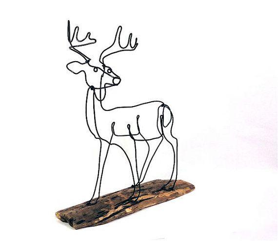 buck deer wire sculpture
