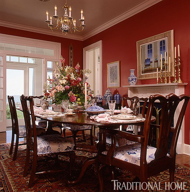1000 ideas about red dining rooms on pinterest living - Traditional red living room ideas ...
