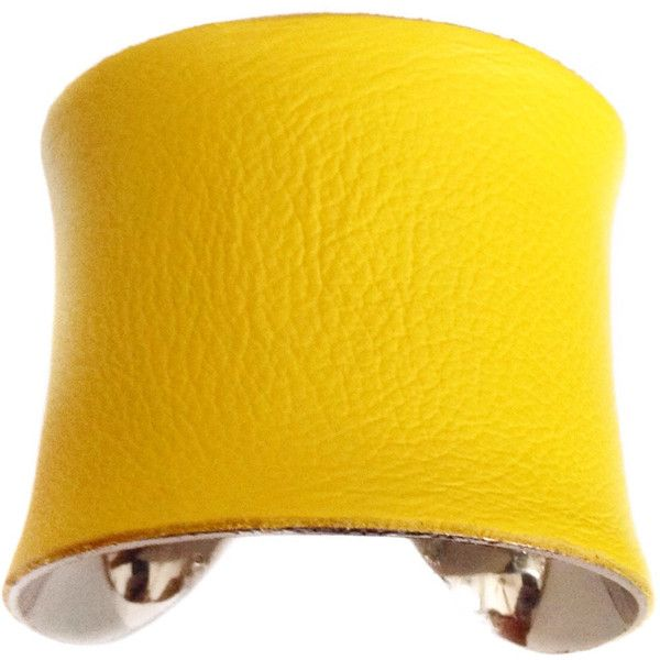 Bright Yellow Leather Silver Lined Cuff Bracelet by UNEARTHED ($50) ❤ liked on Polyvore featuring jewelry, bracelets, bright yellow jewelry, yellow bangles, cuff bracelet, cuff bangle bracelet and yellow jewelry