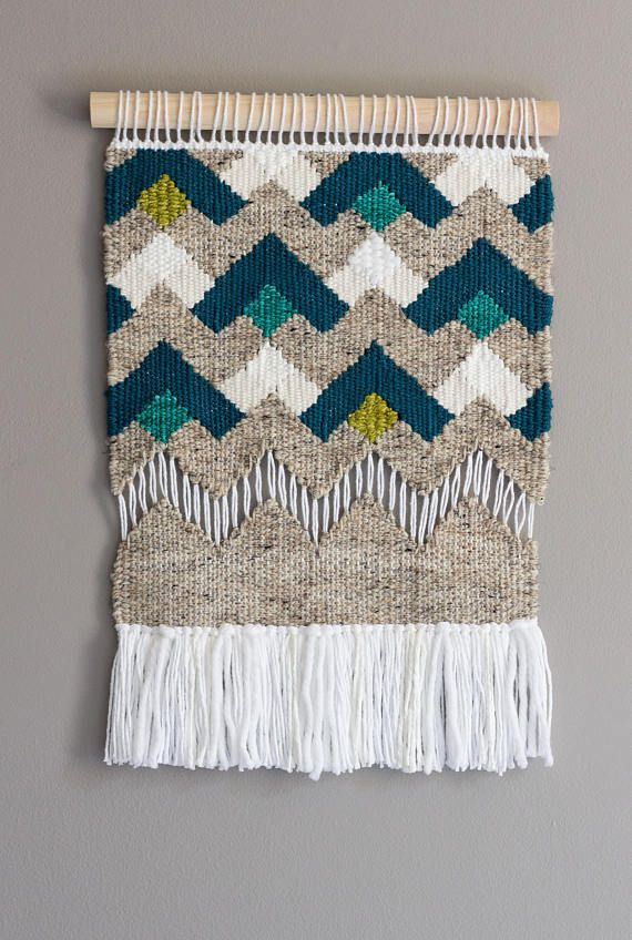 Woven Wall Hanging // Modern Tapestry // Neutral Tapestry with Dark Teal Geometric Pattern