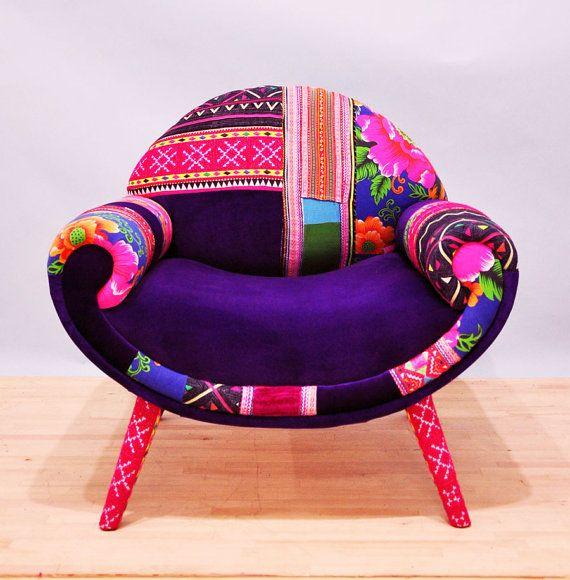 Smiley Patchwork armchair  • Handmade item • Materials: beech wood construction, foam rubber, Thai Hmong fabrics, Turkish velvet fabrics.