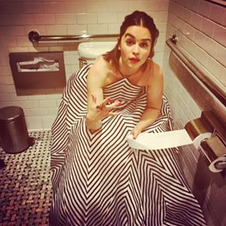 When she gave you a glimpse of what it would be like to share a toilet cubicle on a night out. | Community Post: 22 Times Emilia Clarke's Instagram Made You Wish She Was Your Best Friend