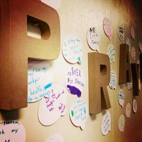 Prayer wall! Great idea for a wall in Sunday School!