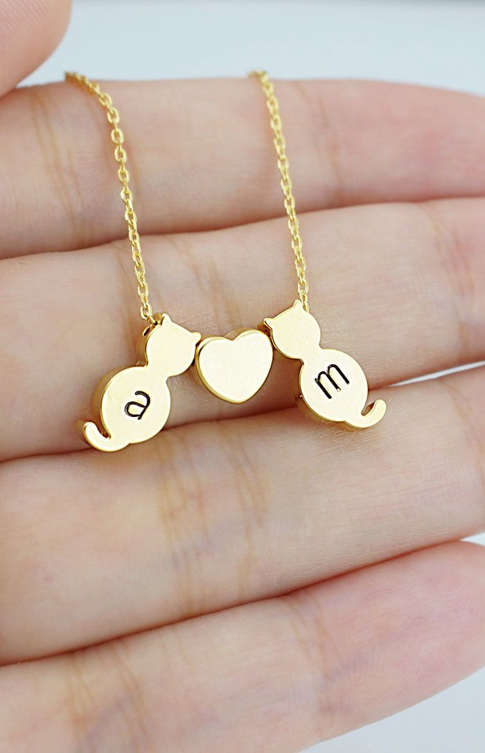 Cute Dainty Personalized kitty cat necklace from EarringsNation for cat lovers couple necklace