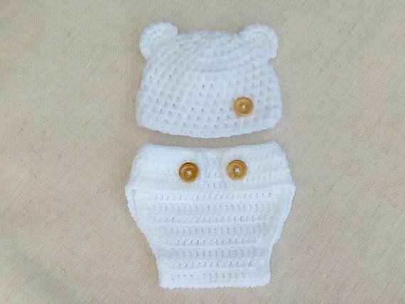 Ensemble Bebe Bonnet Et Cache Couche Tricot Laine Layette Cadeau Naissance Etsy Crochet Hats Crochet