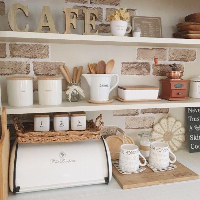 キッチン 食器棚 白 木が好き リメイクシート ナチュラルキッチン