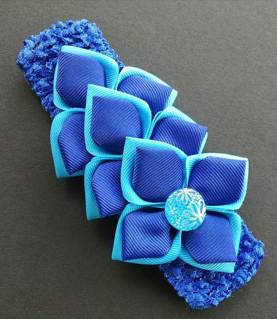 Kanzashi Headband Baby Girl Headband Blue by GloriaMillerCreation