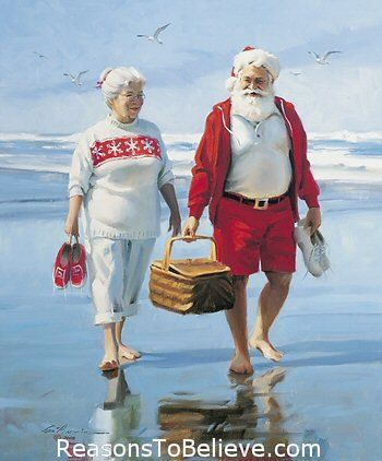 Mr. and Mrs. Clause vacationing before The Christmas Season begins. Barefoot on