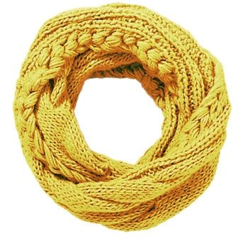 Cable Knit Infinity Scarf - Mustard so cute