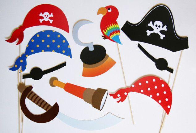 Teminio piratų gimtadienio foto atributai ant pagaliuko fotosesijai Pirate photo props