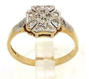 9ct-Gold-Diamond-Ring-UK-Size-L-1-2-Four-Leaf-Clover-VGC