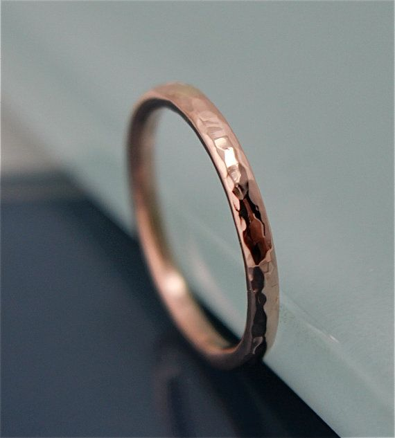 $225 14k Solid Rose Gold Wedding Band 2mm Hammered Texture Men's or Women's Recycled Gold Eco-Friendly Stacking Ring