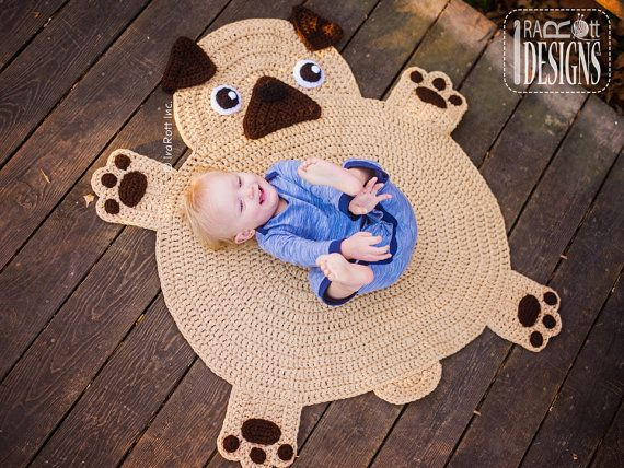 CROCHET PATTERN The Pugfect Pug Rug Nursery Mat by IRAROTTpatterns