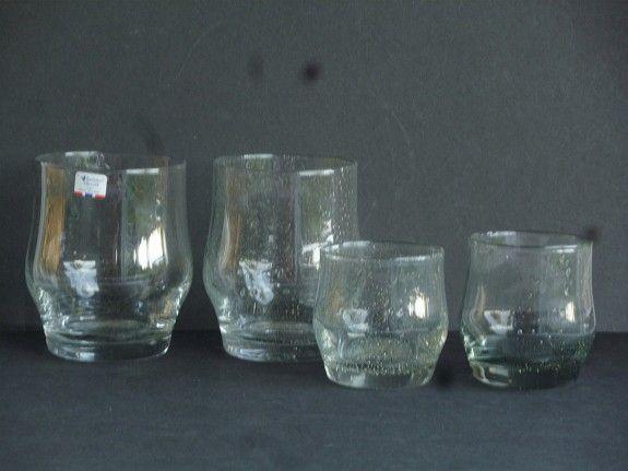 """Design Benny Motzfeldt - """"Jeppe"""" glass produsert ved Randsfjord glassverk. """"Jeppe"""" h:11cm 2 stk 75kr pr stk, """"Jeppe"""" h:7cm 2 stk 50kr pr stk"""
