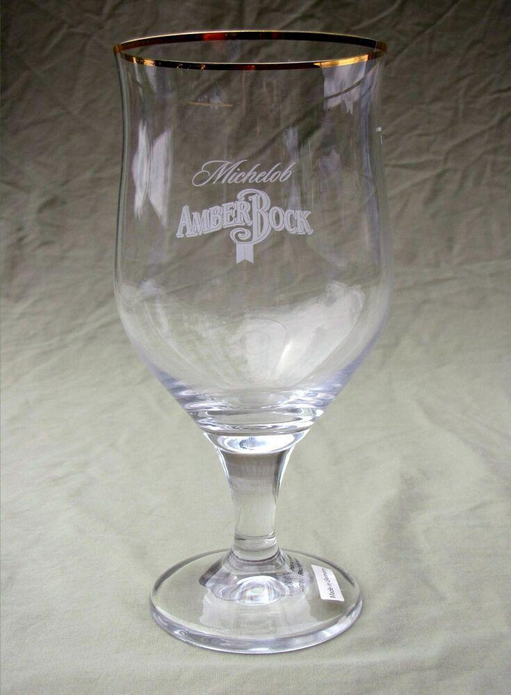 Michelob Amber Bock Barware Beer Glass Crystal Tumbler Gold Rim