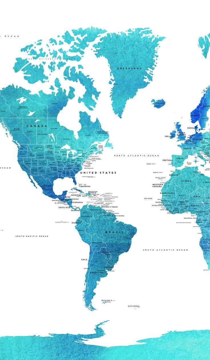 Push PIN mundo mapa lienzo mundo acuarela azul paísesmapa