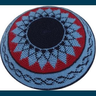 Blue & Red Pattern Knitted Kippah