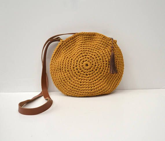 Mustard crochet crossbody bag circle bag